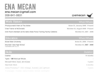 Ena's Resume resume