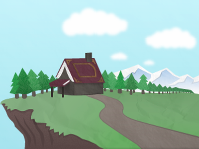Header illustration wip sky tree cottage mountain hill book trees cloud cabin clouds road grass