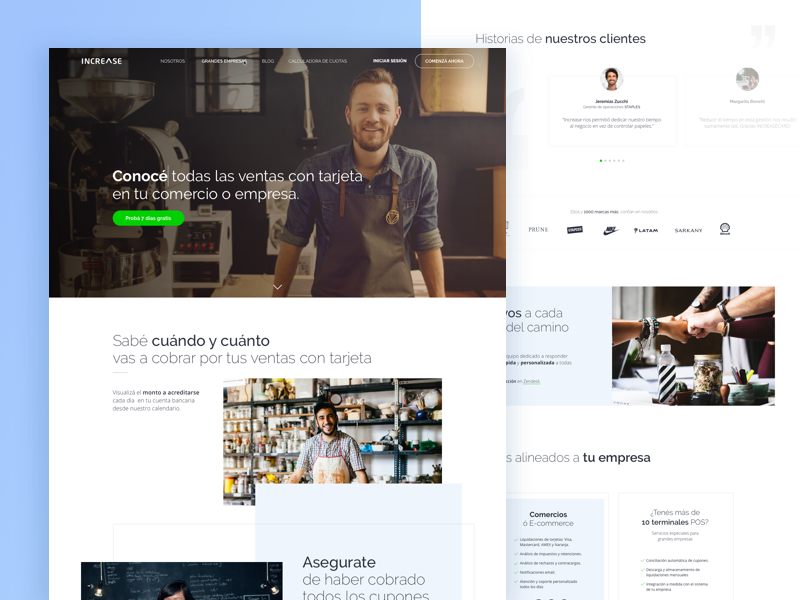 Increasecard • Landing Page storytelling homepage landing quotes credit cards fintech flat design ux ui redesign website landing page