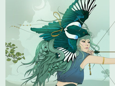 Focus line art wings bird character illustration warrior woman archer illustration painting