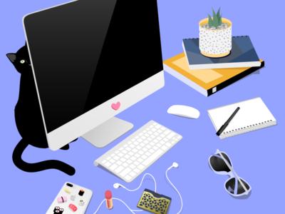 Daily Desk creative material clean illustration design notebook cat workspace desk
