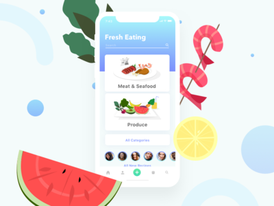 Fresh Eating cards app nutrition food drawing illustration user interface ui mobile iphonex ios