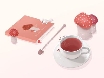 Mushroom Time design sketch desk book cute drawing illustration still life tea mushrooms