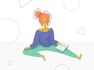 Relax drawing pajamas sweats yoga reading woman lady person illustration