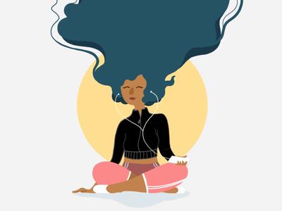 Prezence meditation app relax yoga illustration meditation