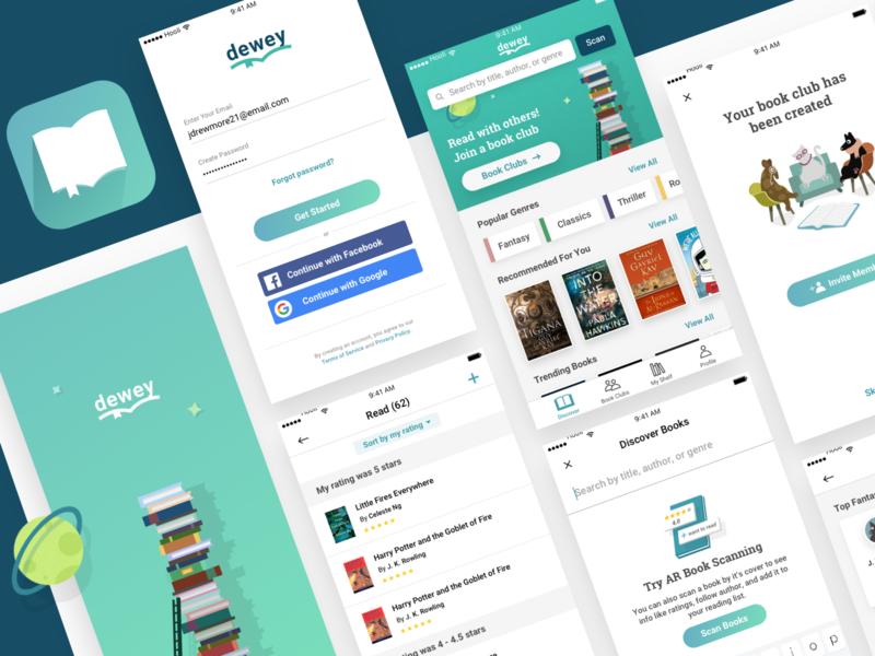 Dewey Book Reading App design sprint ios app educational quirky app icon branding uxui mobile design reading books