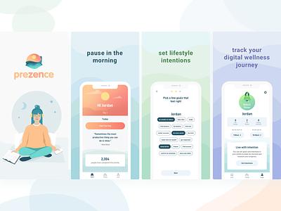 Prezence yoga illustration mobile design uidesign ui ux ios mobile marketing meditation app store app