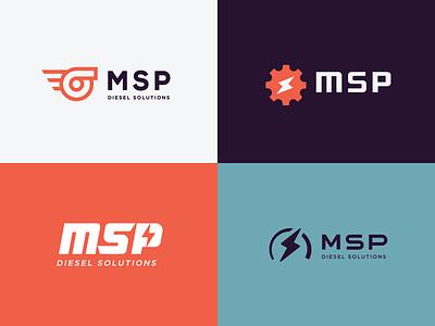 MSP logos diesel car lightning bolt gear wheel auto speed memphis logo