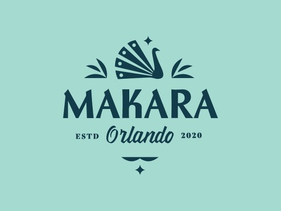 Makara Logo typography peacock logo bird logo orlando palm leaves peacock brand apartments logo