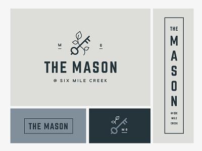The Mason Logo brand north carolina apt leaf icon vertical logo mason key logo apartment