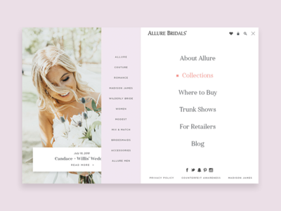 Bridal Website Navigation