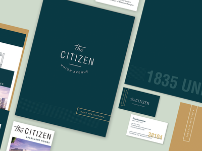 The Citizen Stationery tennessee collateral apartments logo color folder design folder business card branding stationery memphis citizen apartment