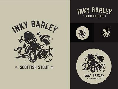 Inky Barley Version 1 beer logo brand logo design nautical navy squid bomber plane beer bomb octopus logo