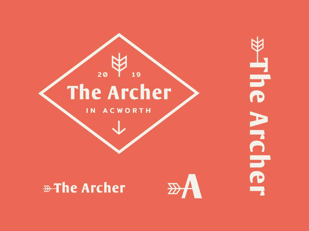The Archer Logo typography feather arrow archer archery apartments brand logo