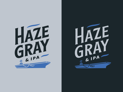 Haze Gray and IPA Logo reversed navy ship aircraft carrier typography brewery memphis type beer brand beer ipa gray haze