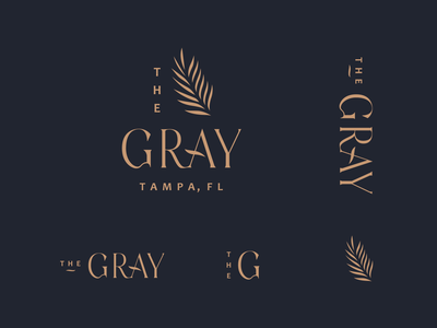 TheGray Logo type branding logo gray high-end fancy florida tampa palm leaf palm