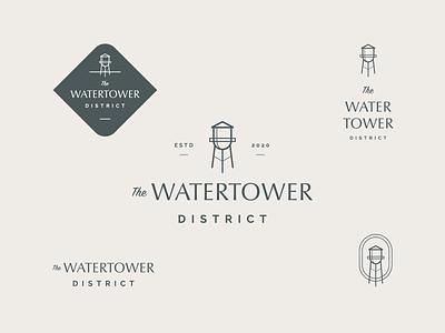 The Watertower District Logo memphis logo water tower tower water apartments branding