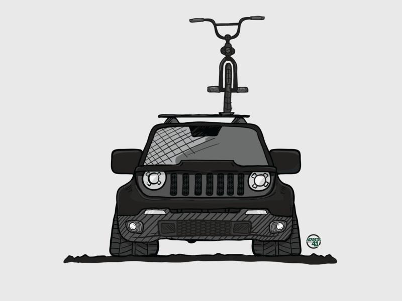 Lowlife Renegade handdrawn illustration vector jeep renegade jeep