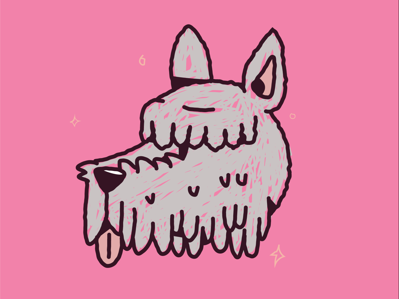 Margot pink love illustration vector dog dog art