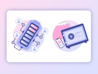 Fintechdb Illustrations - Crowdfunding, Security digital illustration digital art vector art shading branding color design adobe illustrator illustrator illustration
