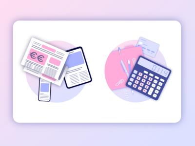 FintechDb Illustrations - News and Accounting finance shading vector art vector illustration vector adobe illustrator branding colorful digital illustration creative design art color illustrator illustration
