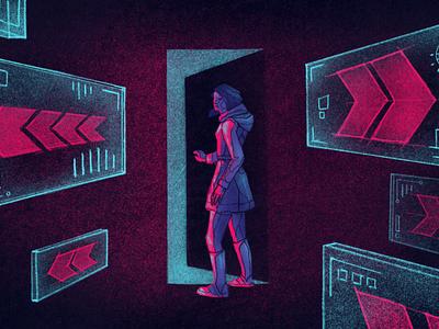 Exit Intent neon cyberpunk procreate illustration illustrator editorial illustration