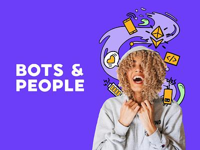 Bots & People Illustrations colors branding sticker cute robots design illustrator illustration