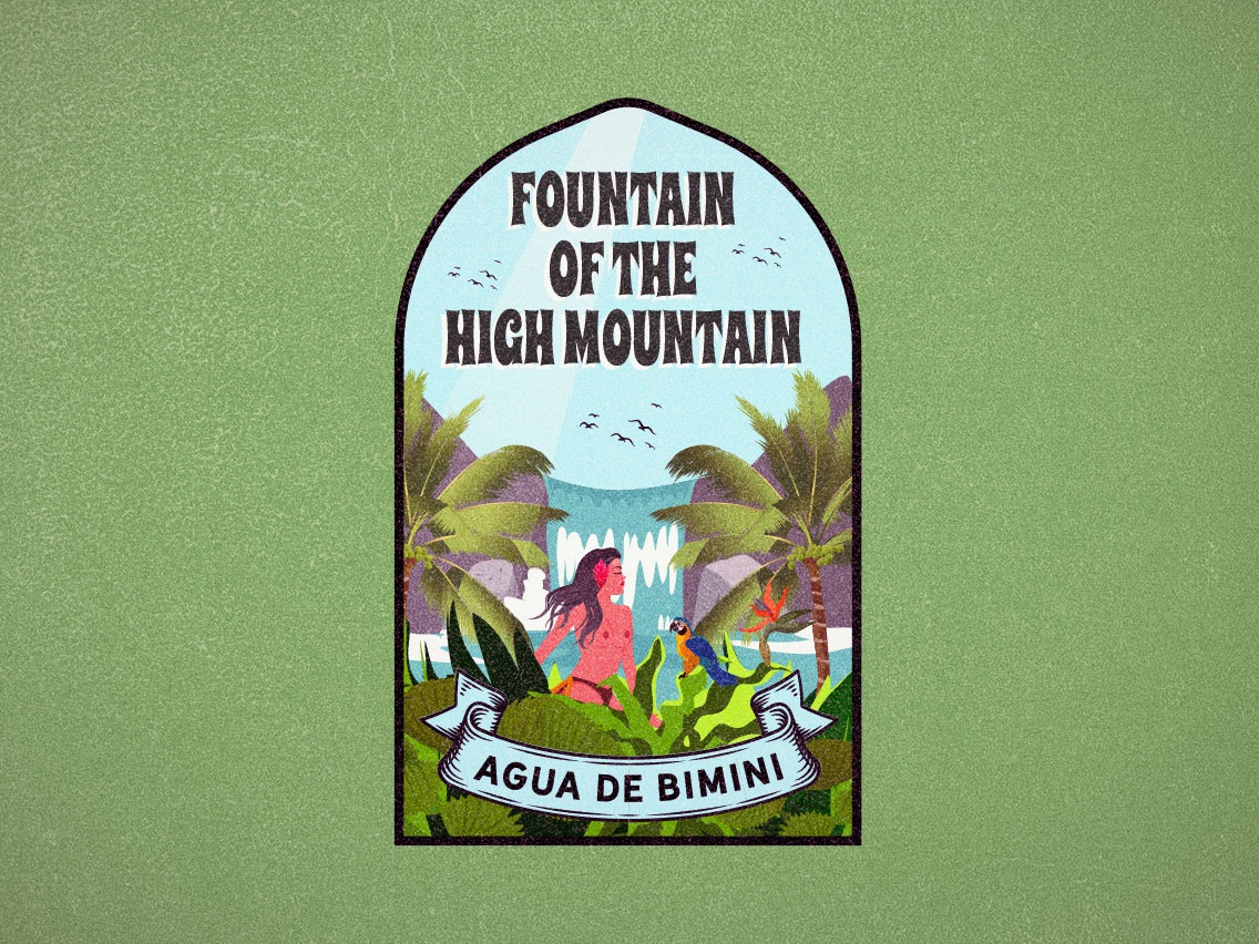 Fountain of the high mountain indian nude waterfall label water