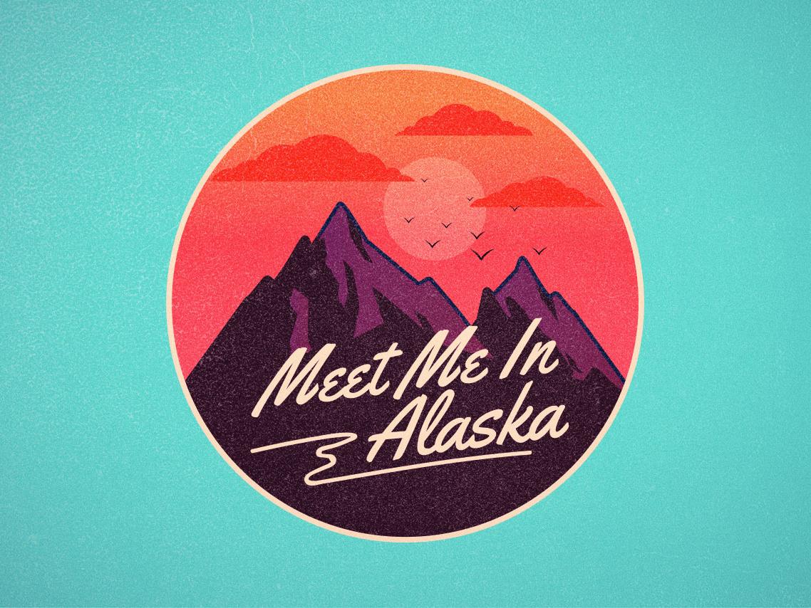 Meet me in alaska nature vintage retro 70s logo borydesign sunset alaska mountain badge