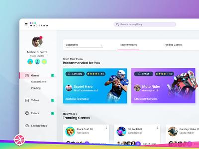 Freebie PSD: Dashboard freebie psd grid layout card game dashborad concept design ux ui minimal design dashborad