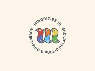 MIA shameless plug minorities in advertising macaw logo lockup diversity design colorful birds