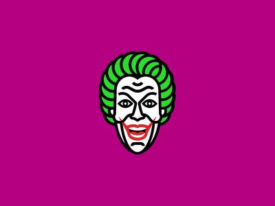 The Joker male 1960s cesar romero clown green purple logo icon head illustration joker batman