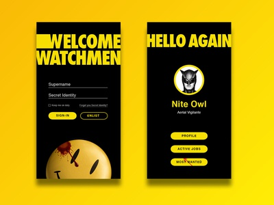 Sign-Up — Daily UI #001 smiley bloody black yellow superhero watchmen dailyui sign-up app