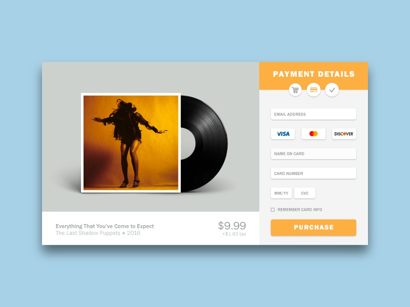 Credit Card Form — Daily UI #002 ecommerce form card credit music tlsp yellow web dailyui