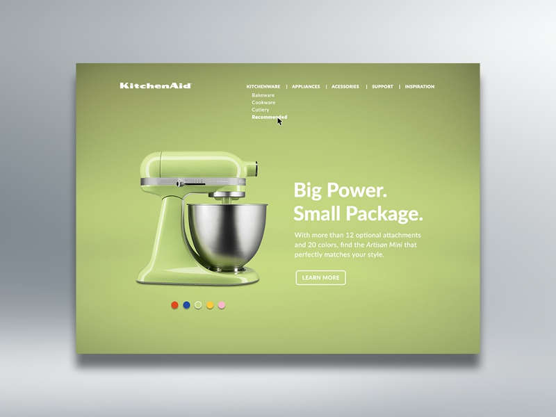 Landing Page — Daily UI #003 landing page web page stand mixer web design kitchenaid ux ui green design dailyui