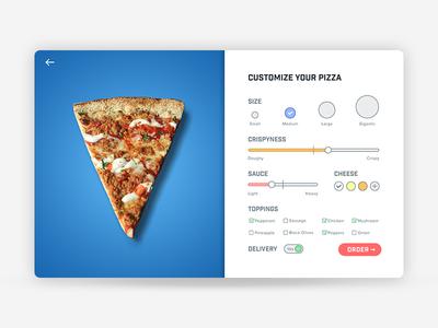 Settings — Daily UI #007 blue slice customize design ui website pizza settings 007 dailyui