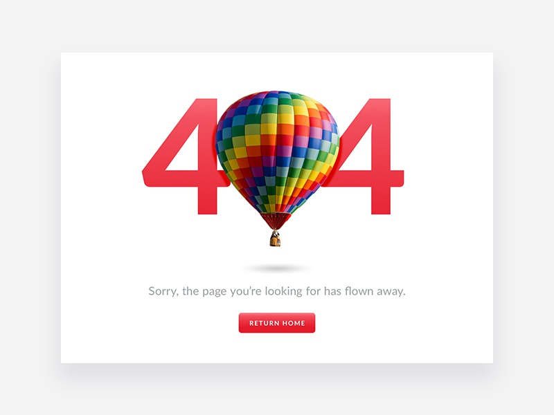 404 Page — Daily UI #008 hot air balloon colorful error 404 website design ui 008 dailyui