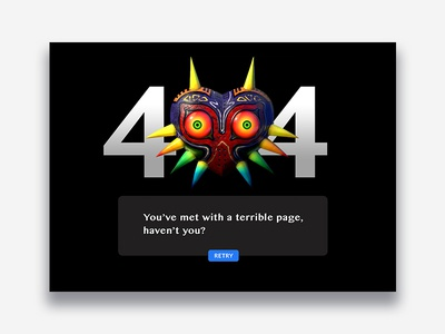 404 Page — Daily UI #008 Alt majoras mask dark zelda error 404 website design ui 008 dailyui