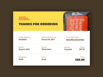 Email Receipt — Daily UI #017 ozo coffee company web receipt email design ui 017 dailyui