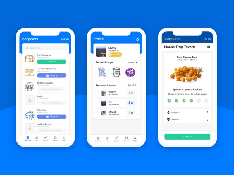 barpoints mobile app design reward food points mobile app profile app leaderboard leader mobile stamps stamp checkin rewards bar