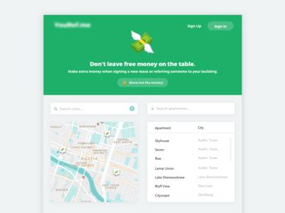 Referral Portal city search web app money landing maps