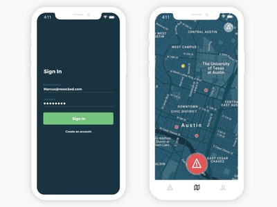 Incident Mapping mobile authenticate login mapping minimalist clean map