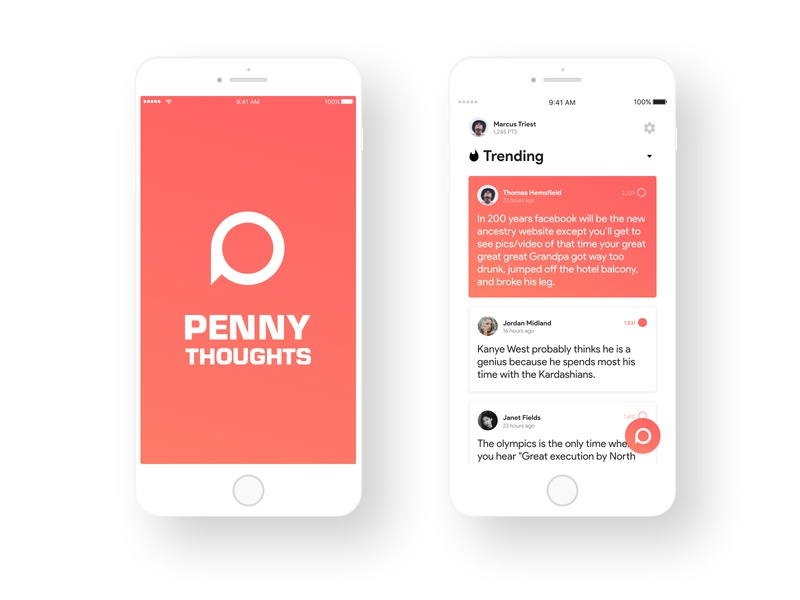 A penny for your thoughts concept app uid wall feed twitter quotes thoughts penny