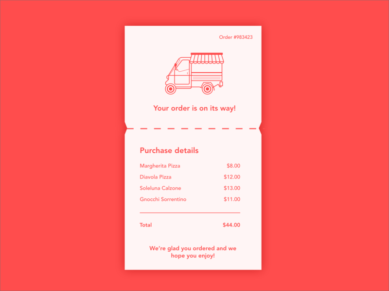 Daily UI #017 • Email Receipt illustration van food delivery 017 email receipt email