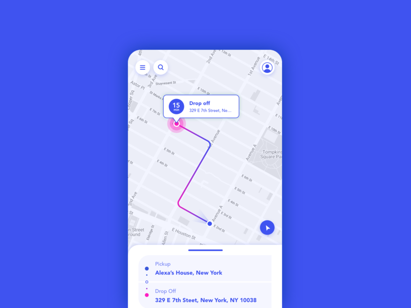Daily UI #020 • Location Tracker mobile app driving map ui dailyui 020 location tracker