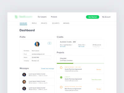 User Dashboard web app design account profile card messages checklist username ui ux profile dashboard