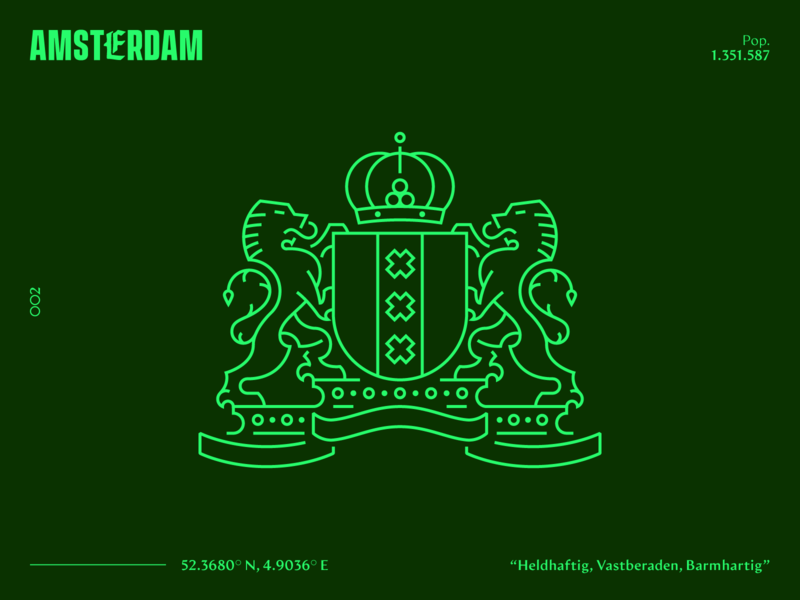 OO2 | Amsterdam vector art vector monoline europe heraldy coatofarms coat of arms holland netherlands amsterdam