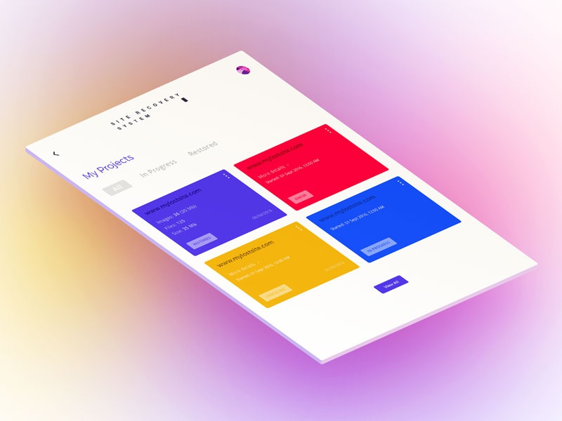 Site Recovery System recover ui ux design system presentation site app