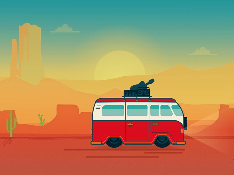 Desert Road Trip Illustration landscape western sunrise music saguaro cactus valley arizona vw trip road desert