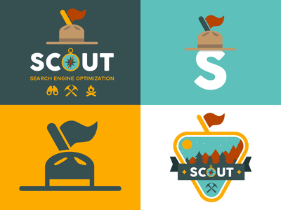 Scout SEO icon badge fire compass hat flag camp ranks seo forest logo scout